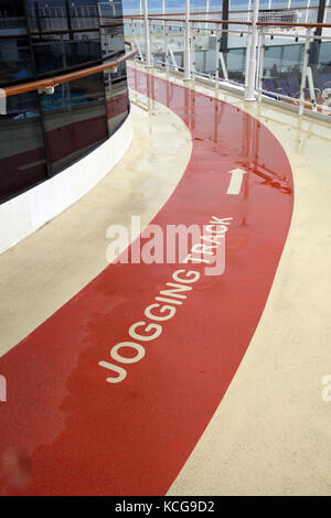 a jogging track on board a cruise ship The Norwegian Pearl, USA waters - Stock Photo