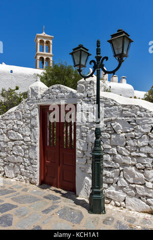 Panagia Tourliani monastery in Town of Ano Mera, island of Mykonos, Cyclades, Greece - Stock Photo