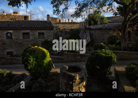 medieval town in girona - Stock Photo