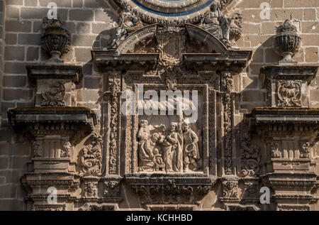 Decoration of the western facade of Cathedral of Jerez de la Frontera, Andalucia, Spain - Stock Photo
