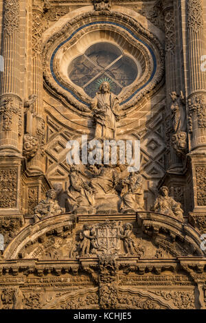 Decoration of Western facade of Cathedral of San Salvador in Jerez de la Frontera, Andalucia, Spain - Stock Photo