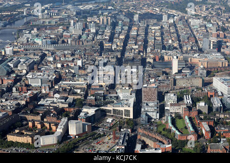 aerial view of the Glasgow city centre skyline looking down George Street, Scotland, UK - Stock Photo