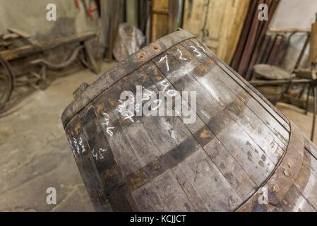 Barrel repair at Poças Junior, Vila Nova de Gaia, Portugal - Stock Photo