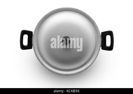 aluminum pan on a white background top view - Stock Photo
