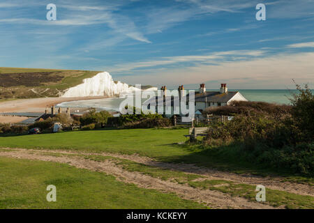 Autumn afternoon at Coastguard Cottages, Seven Sisters cliffs in the distance, East Sussex, England. South Downs - Stock Photo