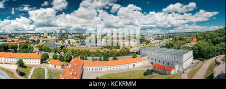 Vilnius, Lithuania  - July 5, 2016: Panorama Cityscape Modern City And Part Of Old Town. New Arsenal, Foundation - Stock Photo