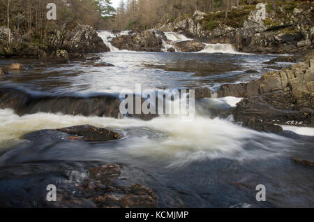 Achness Falls (Cassley Falls) on River Cassley in Sutherland, Scotland, near Rosehall and Invercassley - Stock Photo