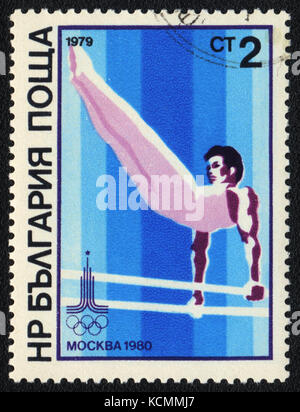 A postage stamp printed in BULGARIA  shows  gymnastics man XXII Moscow Olympic games, circa 1979 - Stock Photo