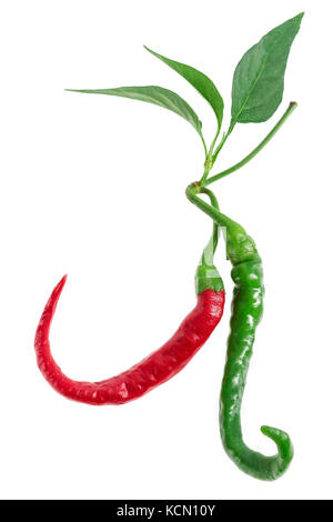 Green, cayenne red colored chillies isolated on white background. - Stock Photo