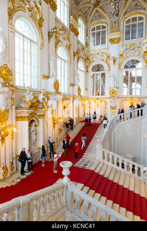 The Jordan Staircase, interior of the Winter Palace, State Hermitage Museum, Saint Petersburg, Russia - Stock Photo