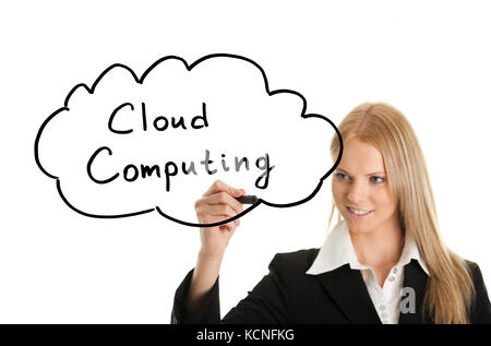 Woman holding pen drawing cloud computing concept on white screen - Stock Photo