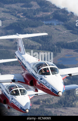 Canada's Tudor flying demonstration team, the Snowbirds, flies over mountains in strathcona Park. - Stock Photo