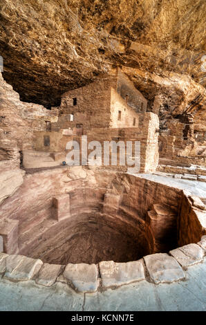 Kiva, Spruce Tree House, Mesa Verde National Park, Colorado, USA - Stock Photo