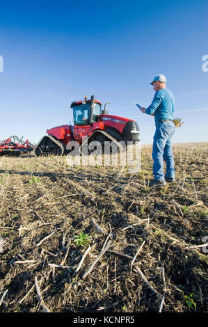 farmer using a tablet in front of a tractor and air seeder, planting winter wheat in a zero till field containing - Stock Photo