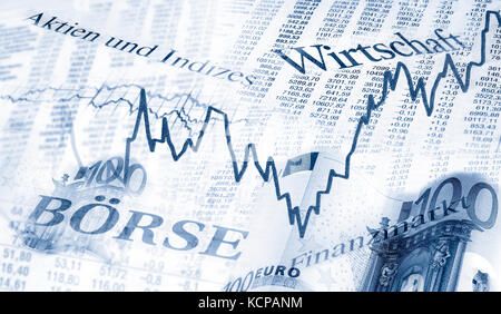 Tables with share prices, charts and euro notes - Stock Photo