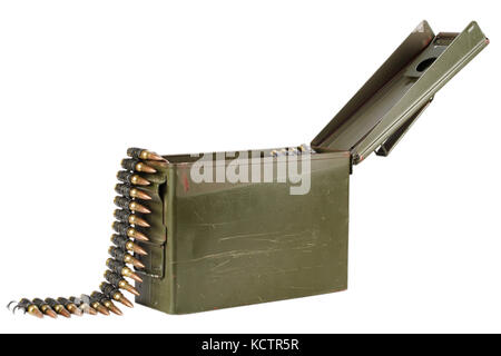 .30 Cal Metal Ammo Can with ammunition belt - Stock Photo