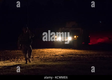 U.S. Army Soldiers from Scout Platoon, 4-118th Combined Arms Battalion, South Carolina Army National Guard conduct - Stock Photo