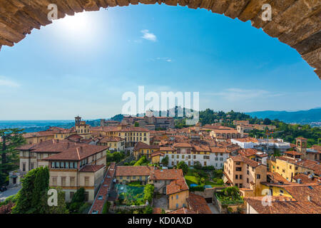 View of Bergamo from the old town tower Campanone Torre Civica, Bergamo, Province of Bergamo, Lombardy, Italy - Stock Photo