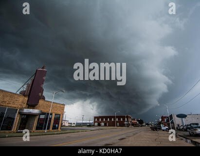 Layered supercell storm over and around wheat fields, Fairview, Oklahoma, USA - Stock Photo