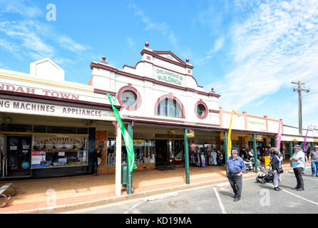 People strolling and chatting in the main street of the small rural town of Lockhart, New South Wales, NSW, Australia - Stock Photo