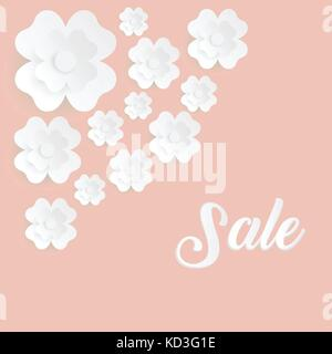 Web banner with flowers for summer sale. Beautiful background with plumeria flowers on wooden texture. - Stock Photo