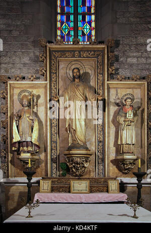 Chapel of the sacred heart of Jesus Altarpiece in the  Santa Maria del Pi church in the Gothic Quarter of Barcelona - Stock Photo