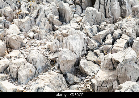 Sharp limestone rocks, rocky terrain at Calanque de Sugiton, Calanques National Park, France - Stock Photo