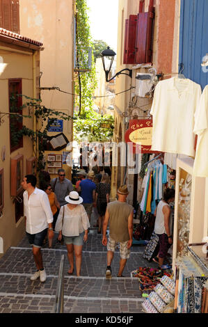 Narrow backstreets abound throughout the coastal town of Chania on the Mediterranean island of Crete. - Stock Photo