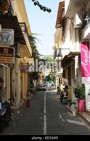 Narrow backstreets abound throughout the coastal town of Rethymno on the Mediterranean island of Crete. - Stock Photo