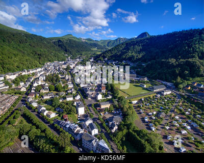 Aerial view of the thermal resort of Mont-Dore in the Sancy massif, Massif Central mountain range - Stock Photo