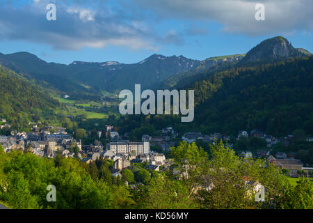 The town of Mont-Dore and the mountain 'Puy de Sancy' in the Sancy Massif. (Not available for postcard production). - Stock Photo