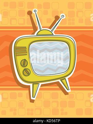 Vector illustration of a vintage TV set on a patterned background - Stock Photo