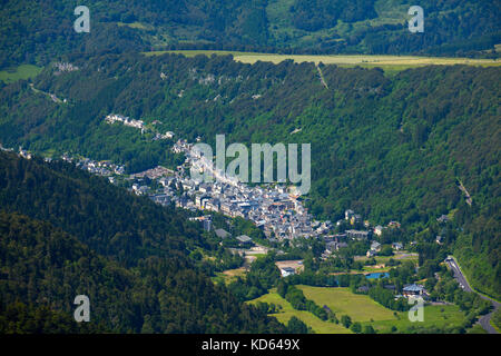 Mont Dore (central France): the town in the valley, viewed from the mountain 'Puy de Sancy'. (Not available for - Stock Photo