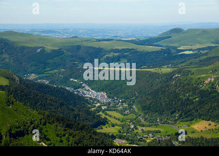 The 'Mont Dore' (63): the town in the valley, viewed from the mountain 'Puy de Sancy'. (Not available for postcard - Stock Photo