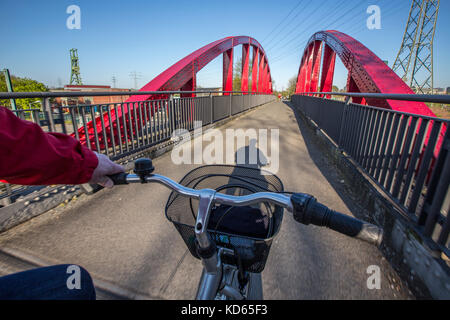 Cycling highway, RS1, first speed track for bicycles in Germany, Ruhr area, will at least run over 100 kilometers, - Stock Photo