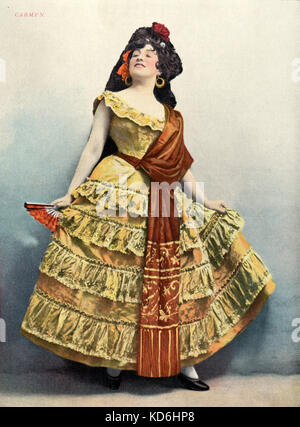 Georgette LeBlanc as Carmen in Bizet's opera, 'Carmen', in 1899. From front cover of Le Théatre,   1899. - Stock Photo