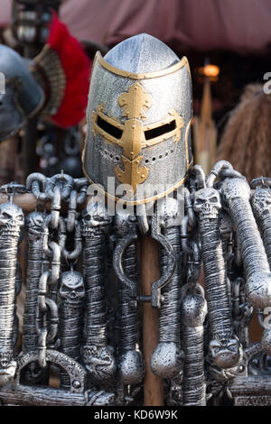 Toy medieval objects in Medieval fair. - Stock Photo