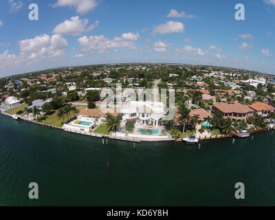 Aerial view of waterfront homes in Boca Raton Florida - Stock Photo