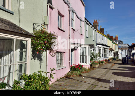 Row of terrace houses on high street up against the pavement in small English market town of Thornbury, South Gloucestershire - Stock Photo