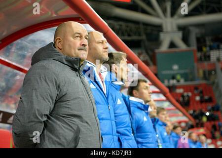 Kazan, Russia. 10th Oct, 2017. Russian national football team coach Stanislav Cherchesov with coaching and administrative - Stock Photo