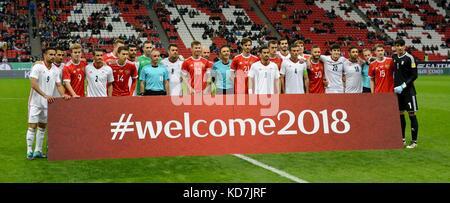 Kazan, Russia. 10th Oct, 2017. National teams of Russia and Iran before international friendly match at Kazan Arena - Stock Photo