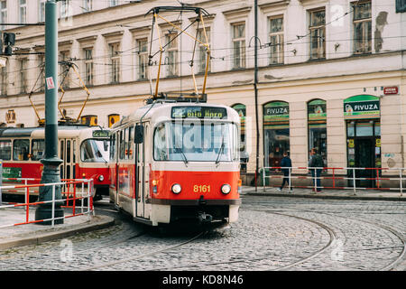 Prague, Czech Republic - September 22, 2017: Public Old Retro Tram With Number Of Twenty Two Route Moving On Street. - Stock Photo