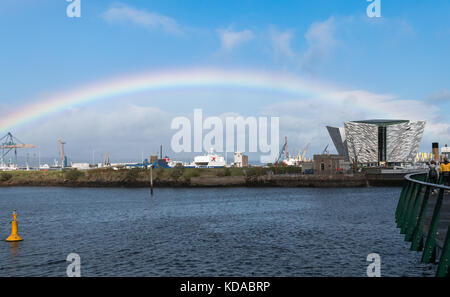 Rainbow over the Titanic Belfast, in Belfast city, Northern Ireland - Stock Photo