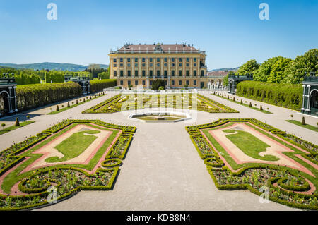 View of the Privy Garden at the Schönbrunn Palace in Austria, Vienna. - Stock Photo