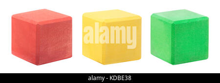 Blank colorful red, green yellow wooden blocks on white - Stock Photo