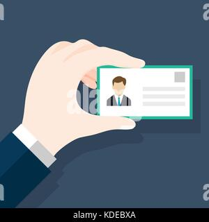 Businessmen holding ID or identification card in flat style. Man's hand holding or showing ID badge or driving license. - Stock Photo
