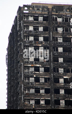 Grenfell Tower Block of Flats Latimer Road London 6th October 2017 3 months after the fire - Stock Photo