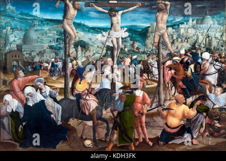 Crucifixion by Jan Provoost (1462-1529), oil on panel, c.1501-1505 - Stock Photo
