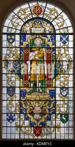 LONDON, GREAT BRITAIN - SEPTEMBER 14, 2017: The saint Paul the apostle on the stained glass in church St. Lawrence - Stock Photo