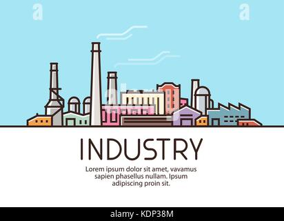Industry banner. Industrial production, factory building concept. Vector illustration - Stock Photo